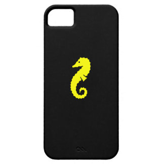 Ocean Glow_Yellow-on-Black Seahorse iPhone 5 Cases