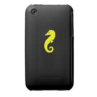 Ocean Glow_Yellow-on-Black Seahorse iPhone 3 Case