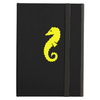 Ocean Glow_Yellow-on-Black Seahorse iPad Air Covers