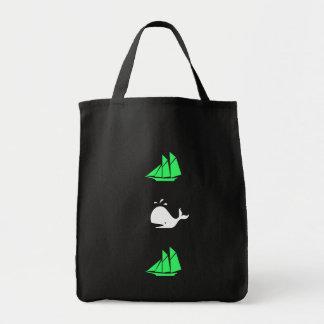 Ocean_green clipper white whale multi-icon tote bag