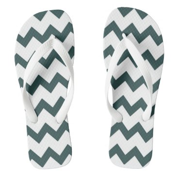 Beach Themed Ocean grey and white zigzag chevron design pastel flip flops