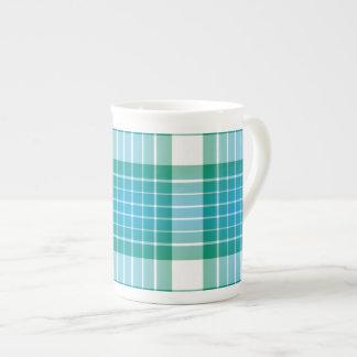 Ocean Grid Plaid Tea Cup