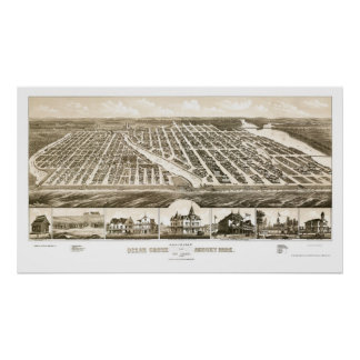 Ocean Grove & Asbury Park, NJ Panoramic Map - 1881 Poster
