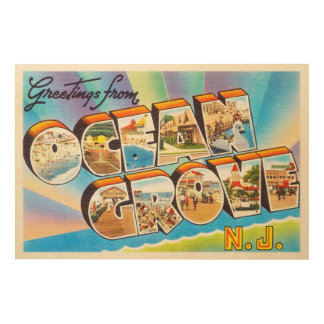Ocean Grove New Jersey NJ Vintage Travel Postcard- Wood Wall Art