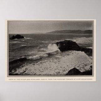 Ocean, headlands from Cliff House Rocks Print