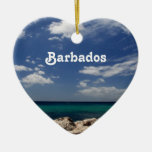 Ocean in Barbados Double-Sided Heart Ceramic Christmas Ornament
