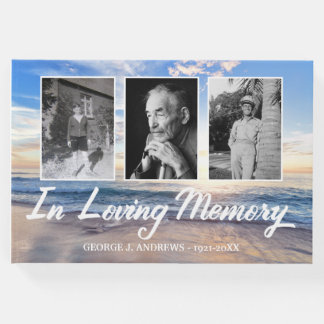Ocean In Loving Memory Photo Collage Guest Book