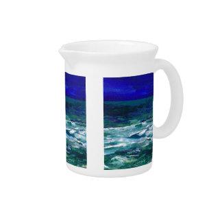 Ocean in the Moonlight Ocean Art Seascape Gifts Drink Pitcher