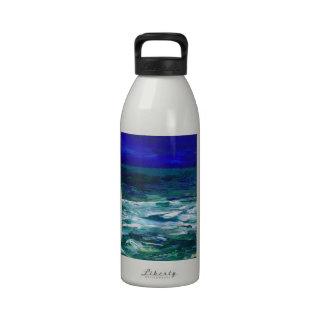 Ocean in the Moonlight Ocean Art Seascape Gifts Water Bottle