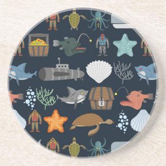 Ocean Inhabitants Pattern 1 Coaster