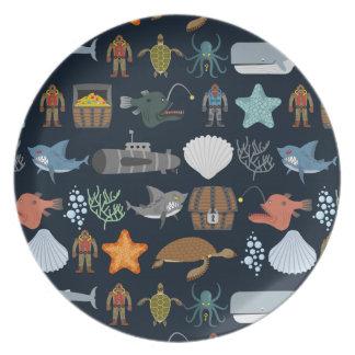 Ocean Inhabitants Pattern 1 Melamine Plate