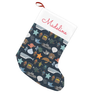 Ocean Inhabitants Pattern | Add Your Name Small Christmas Stocking