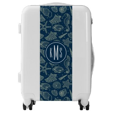 Beach Themed Ocean Inhabitants Pattern | Monogram Luggage