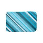 [ Thumbnail: Ocean-Inspired Blue/Teal/Aqua Stripes Bath Mat ]