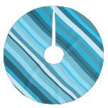 [ Thumbnail: Ocean-Inspired Blue/Teal/Aqua Stripes Tree Skirt ]