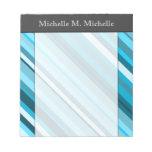 [ Thumbnail: Ocean-Inspired Blue/Teal/Aqua Stripes; Custom Name Notepad ]