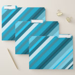 [ Thumbnail: Ocean-Inspired Blue/Teal/Aqua Stripes File Folders ]