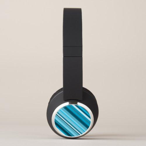 Ocean-Inspired Blue/Teal/Aqua Stripes Headphones
