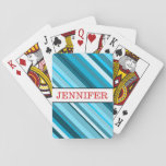 [ Thumbnail: Ocean-Inspired Blue/Teal/Aqua Stripes + Name Playing Cards ]