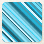 [ Thumbnail: Ocean-Inspired Blue/Teal/Aqua Stripes Paper Coaster ]