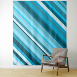 [ Thumbnail: Ocean-Inspired Blue/Teal/Aqua Stripes Tapestry ]
