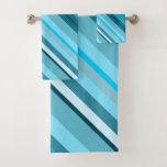 [ Thumbnail: Ocean-Inspired Blue/Teal/Aqua Stripes Towel Set ]
