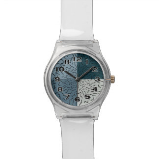 Ocean inspired design with black squiggle waves wrist watch