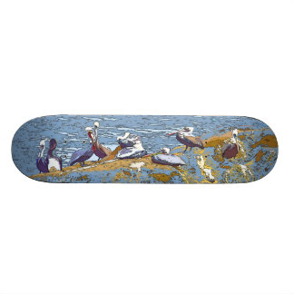 Ocean Jetty Pelican Art Skateboard