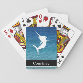 Ocean Jumping Marlin With Custom Name Banner Playing Cards