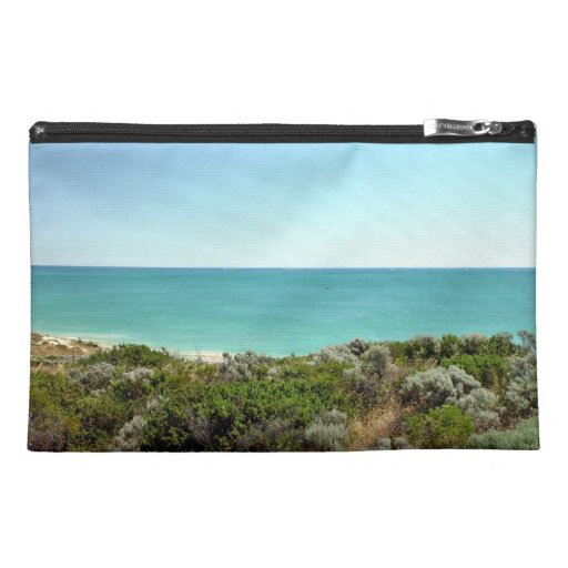 Ocean landscape with dunes and scrub travel accessory bag