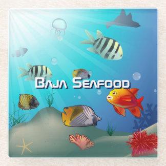Ocean Life Cartoon Glass Coaster