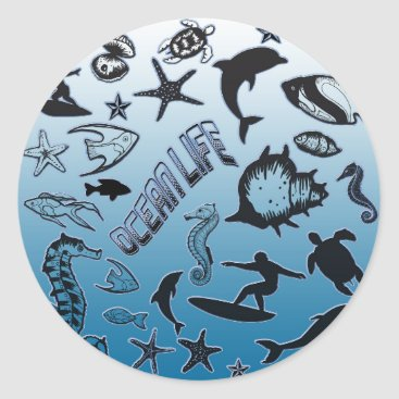 Hawaiian Themed Ocean Life Classic Round Sticker