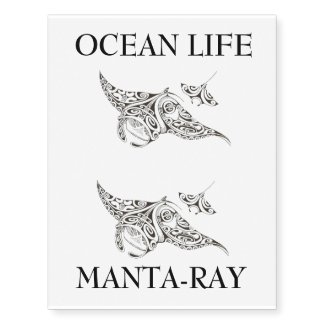 OCEAN LIFE manta-rays temporary tattoo