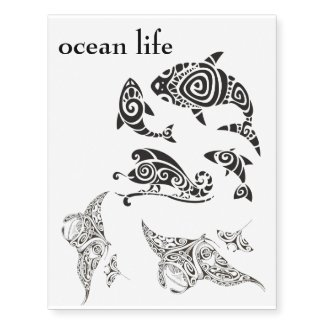 ocean life many temporary tattoo