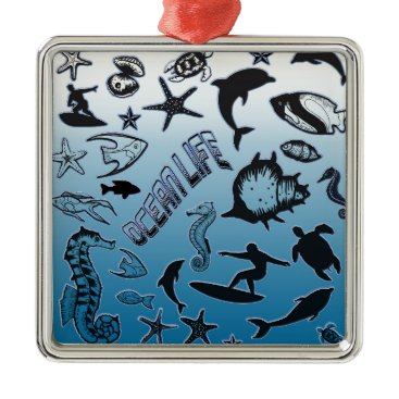 Hawaiian Themed Ocean Life Metal Ornament