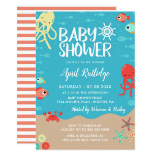 Ocean theme baby shower invitations zazzle ocean life nautical baby shower invitation filmwisefo