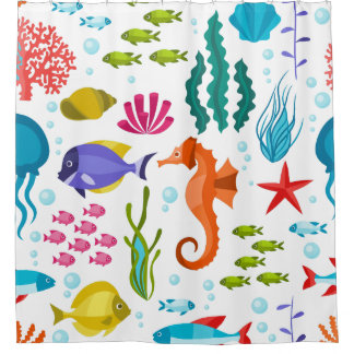 Ocean Life Pattern With Sea Animals Shower Curtain