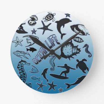 Hawaiian Themed Ocean Life Round Clock