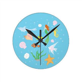Ocean Life Round Clock