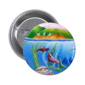 Ocean Life: Sea Lions: Round Button