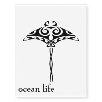 ocean life stingray temporary tattoo