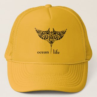 ocean life stingray trucker hat