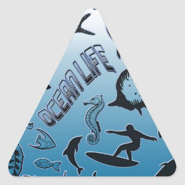 Hawaiian Themed Ocean Life Triangle Sticker