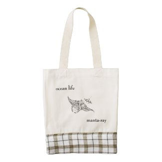 ocean life zazzle HEART tote bag