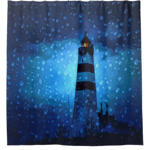 Ocean Lighthouse A Dark Blue Night With Drops Shower Curtain Zazzle