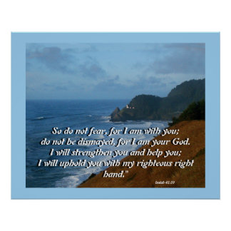 Ocean Lighthouse Isaiah 41:10 Print