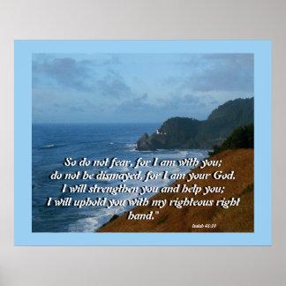 Ocean Lighthouse Isaiah 41:10 Print