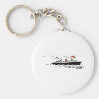 Ocean Liner at Sea Line Drawing Keychain