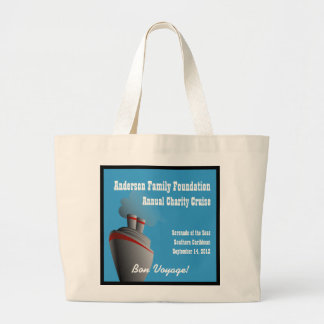 Ocean Liner Bon Voyage Personalized Large Tote Bag