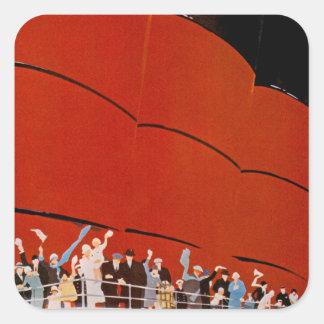 Ocean Liner Bon Voyage Square Sticker